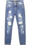 Calça Jeans Boyfriend Puídos Canal - Azul - Canal