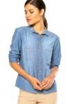 Camisa Jeans Manga Longa Colcci Bolsos Azul - Colcci