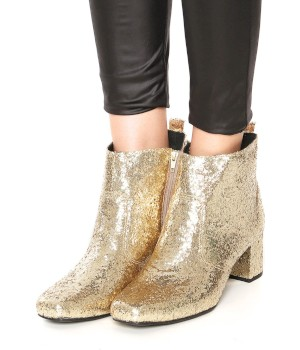 Bota Dafiti Shoes Glitter Dourado - Dafiti Shoes