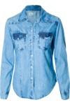 Camisa Feminina Jeans Taco Lateral - Azul - Maria Filó