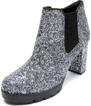 Bota Chelsea Dafiti Shoes Glitter Prata Velha - Dafiti Shoes