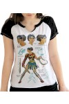 Camiseta Raglan Bandup! Dc Comics Wonder Woman Fierce Branco E Preto - Bandup - Geek
