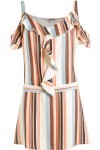 Vestido Tamires Stripes - Azul E Bege - Carina Duek