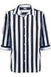 Camisa Feminina Clássica - Marinho E Branco - Stroke Fresh