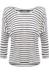 Blusa Feminina Malha Listras - Branco E Preto - Shoulder