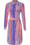 Vestido Listras Verticais - Azul E Laranja - A.brand