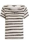 Camiseta Feminina Moletom Listras - Cinza E Preto - Shoulder
