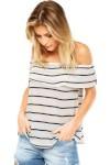 Blusa Ciganinha Fiveblu Listrada Sobreposição Off-White/azul - Fiveblu