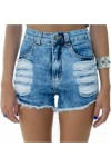 Shorts Jeans Lady Rock Hot Pants Destroyed Azul -